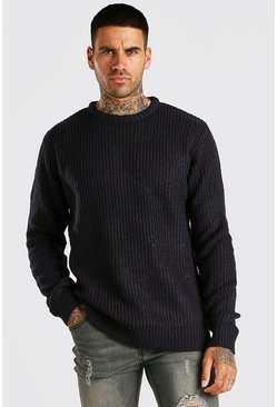 Navy Crew Neck Fisherman Rib Sweater