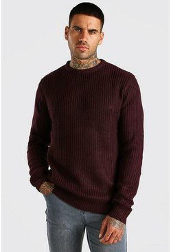 Oxblood Crew Neck Fisherman Rib Sweater