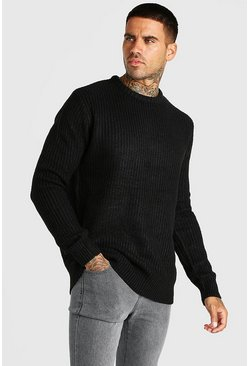 Black Crew Neck Fisherman Rib Jumper