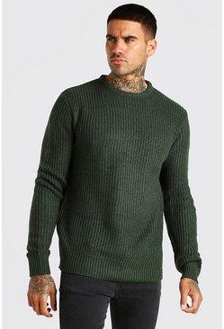 Khaki Crew Neck Fisherman Rib Sweater