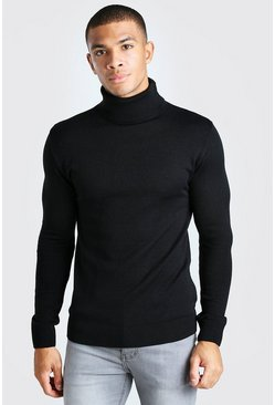 Black Muscle Fit Turtleneck Sweater