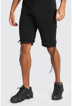 Black Mid Length Jersey Short With Ties