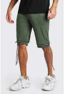 Khaki Mid Length Jersey Short With Ties