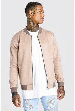 Stone Faux Suede Unlined Bomber Jacket