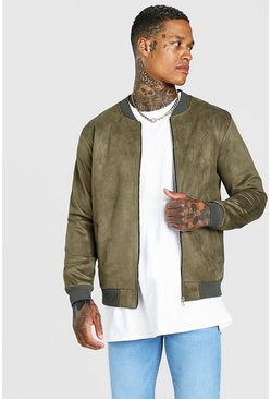 Khaki Faux Suede Unlined Bomber Jacket