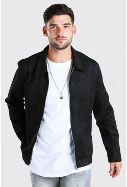 Black Faux Suede Unlined Harrington Jacket