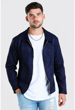 Navy Faux Suede Unlined Harrington Jacket