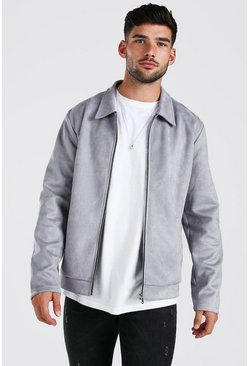 Grey Faux Suede Unlined Harrington Jacket