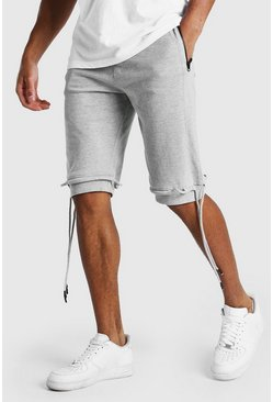 Grey Mid Length Jersey Short With Ties