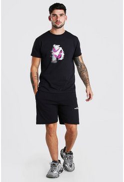 Black  Butterfly Flame Graphic T-Shirt & Short Set