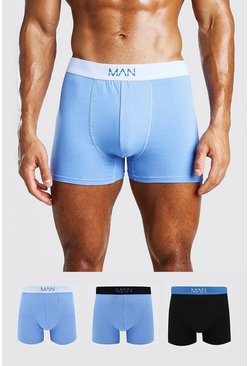 Blue 3 Pack MAN Dash Mixed Mid Length Trunk