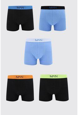 5 Pack MAN Dash Blue Mixed Mid Length Trunk