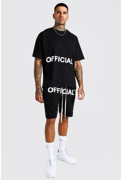 Black Oversized Official Applique T-Shirt & Short Set