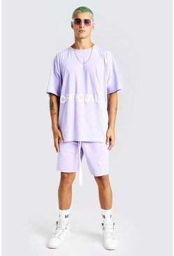 Ensemble t-shirt et short applique officiel coupe oversize, Lilas