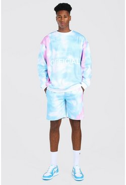 Turquoise Oversized Official Tie Dye Short Tracksuit