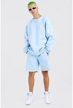 Blue Oversized Graffiti Print Short Sweater Tracksuit