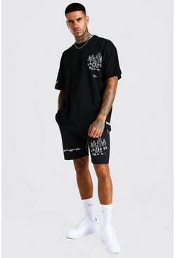 Ensemble short et t-shirt imprimé graffiti coupe oversize, Noir