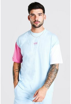 Ensemble t-shirt et short manches colorblock, Aqua
