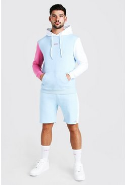 Aqua Colour Block Sleeve Short Tracksuit