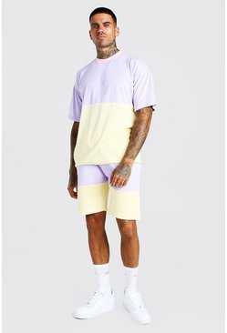 Ensemble short et t-shirt colorblock coupe oversize, Lilas