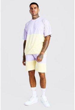 Ensemble short et t-shirt colorblock coupe oversize, Lilas