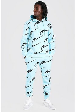 Light blue All Over MAN Printed Hooded Tracksuit