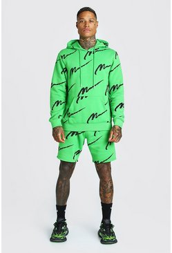 Green All Over MAN Printed Hooded Short Tracksuit