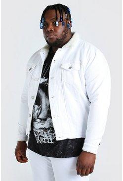 White Plus Size Borg Lined Denim Jacket