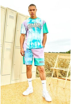 Mint Varsity Homme Spliced Tie Dye T-Shirt And Short Set