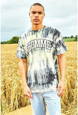 Yellow Oversized Varsity Raw Edge Tie Dye T-Shirt