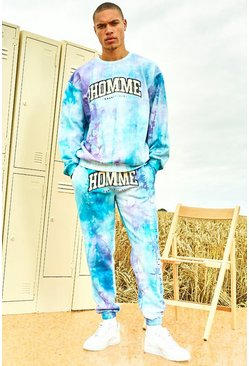 Lilac Varsity Homme Tie Dye Sweater Tracksuit