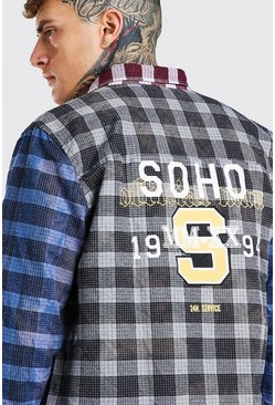 Blue Long Sleeve Spliced Check Shirt With Soho Back Print