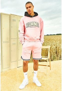 Light pink Varsity Homme Short Tracksuit With Sports Rib