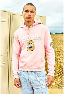 Light pink Varsity Soho Raw Edge Hoodie
