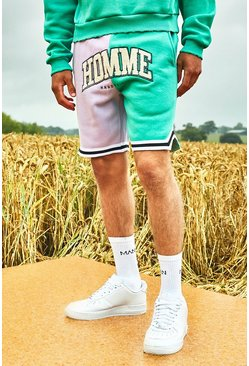 Mint Varsity Homme Basketball Shorts With Sports Rib
