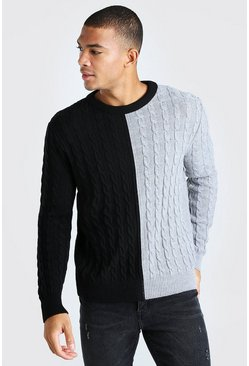 Black Cable Knit Colour Block Spliced Jumper