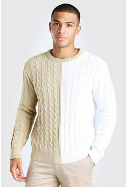 Oatmeal Cable Knit Colour Block Spliced Jumper
