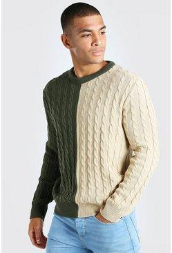 Khaki Cable Knit Colour Block Spliced Sweater