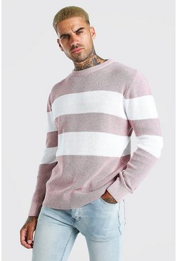 Dusky pink Long Sleeve Stripe Knitted Jumper