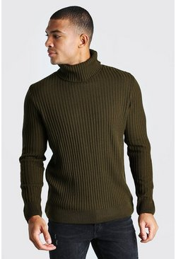 Khaki High Funnel Neck Jumper