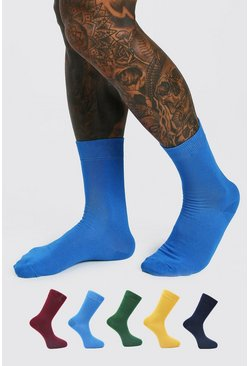 Multi 5 Pack Plain Socks