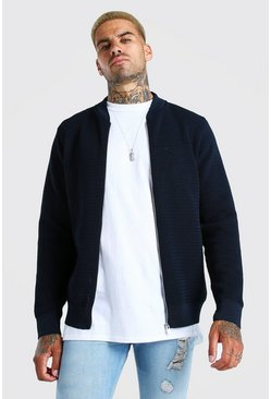 Navy Waffle Stitch Smart Knitted Bomber