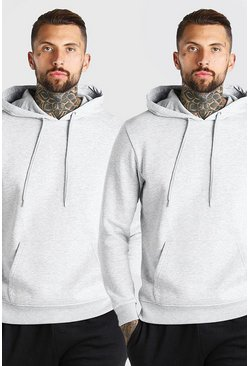 Grey marl 2 Pack Basic Over The Head Hoodie