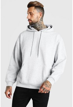 Grey marl Oversized Basic Over The Head Hoodie
