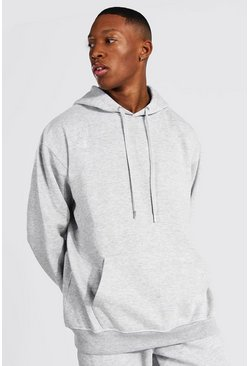 Grey Oversized Basic Over The Head Hoodie