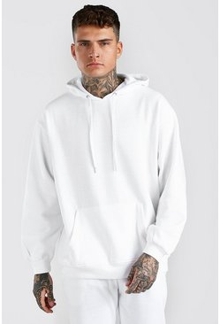 White Oversized Basic Over The Head Hoodie