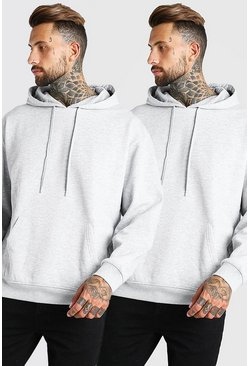 Grey marl 2 Pack Oversized Basic Over The Head Hoodie