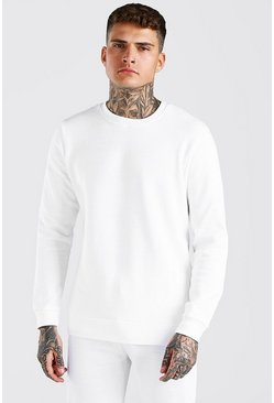 White Basic Crew Neck Sweatshirt