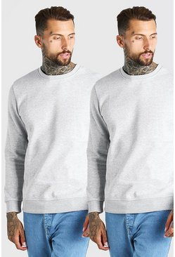 Grey marl 2 Pack Basic Sweatshirt