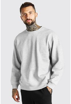 Grey marl Oversized Crew Neck Sweatshirt